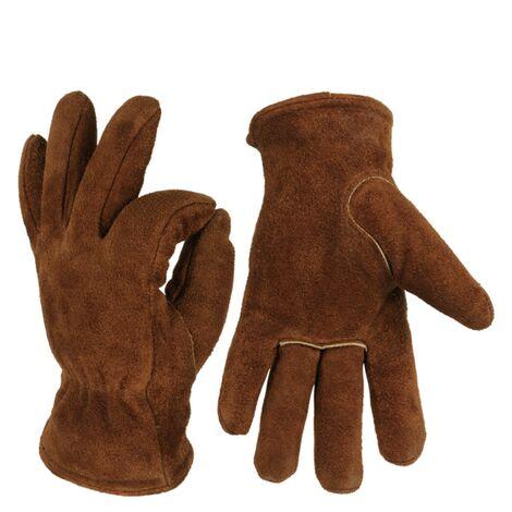 Ilovemono Gants chauds, gants d'hiver, gants en cuir de vache résistant au froid, gants de travail extérieur, gants épaissis résistant aux basses températures, gants de ski, marron XL
