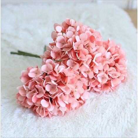 Ilovemono Hortensia unique fleur artificielle bouquet de fleurs artificielles décoration maison salon table à manger décoration décoration fleur bouquet de mariage (3 rouge carmin)