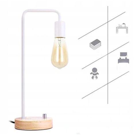 Ilovemono Lampe de table Lampe de table en bois massif Lampe de chambre Lampe de chevet Dimmable Veilleuse Petite lampe de table, Blanc