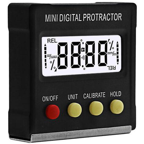 Ilovemono Niveau électronique, mini inclinomètre de rapporteur numérique à 360 degrés, niveau électronique, outil de mesure à base magnétique A