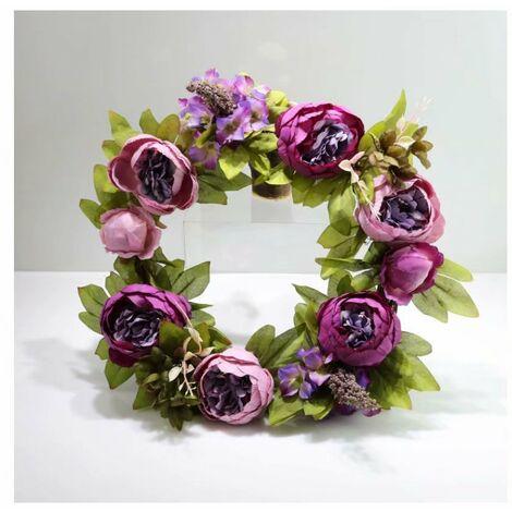 Ilovemono Noël porte heurtoir simulation guirlande soie tissu pivoine fleur mariage décoration guirlande simulation fleur canne cercle canne anneau violet
