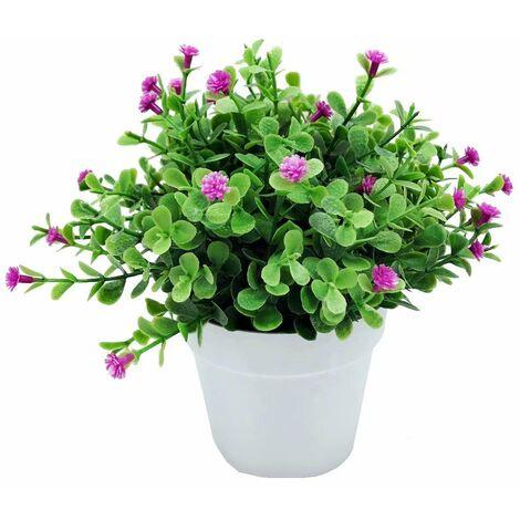 Ilovemono Plantes artificielles, fausses fleurs, orchidées de simulation, plantes en pot d'eucalyptus, plantes vertes, décoration de la maison, décoration de fenêtre, petites plantes en pot de fleurs (couleur lotus)