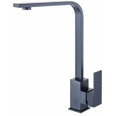 Ilovemono Robinet carré en acier inoxydable 304 robinet de peinture noire robinet de cuisine évier