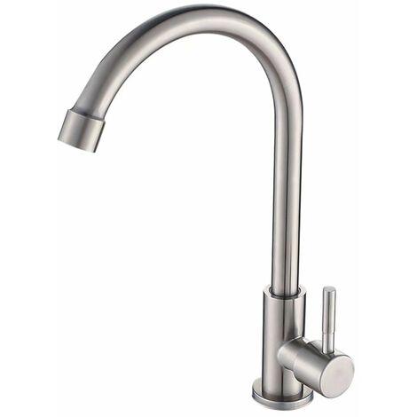 Ilovemono Robinet en acier inoxydable 304 robinet froid simple robinet de balcon de cuisine