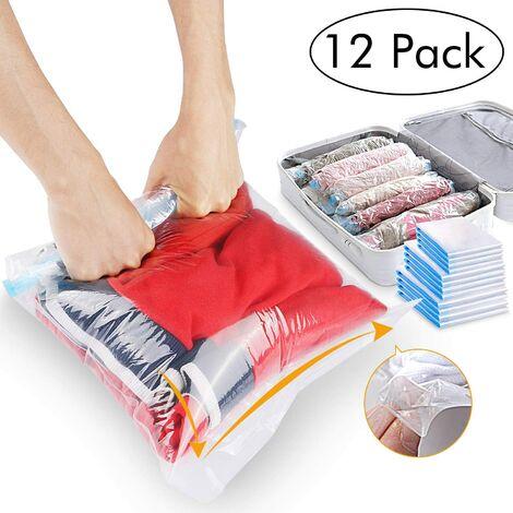 Ilovemono Sac de rangement, mon sac de voyage, mon sac de rangement sous vide, mon sac de rangement sous vide a une variété de tailles, peut être roulé vers l'avant, pas d'aspirateur 12pcs (40 * 60cm) 8+ (50 * 70cm) 4