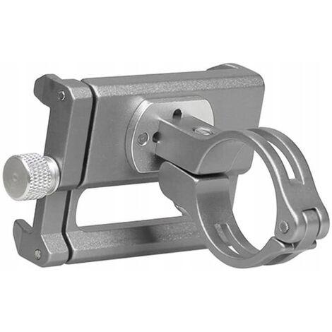 Ilovemono Support de téléphone de vélo et de moto - Support de téléphone de vélo en aluminium avec support de téléphone à poignée rotative et réglable à 360 °, adapté pour téléphone portable de 3,5 à 6,5 pouces (argent)