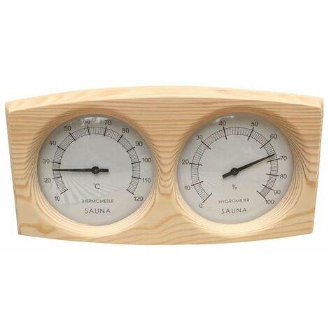 Ilovemono Thermomètre Hygromètre en bois de pin pour Sauna fond Spa Accessoire de sauna