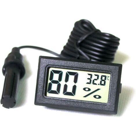 Ilovemono Tuner Numérique Intégré Thermomètre Hygromètre avec Sonde Externe pour Couveuse Aquarium Volaille Reptile *(Noir)