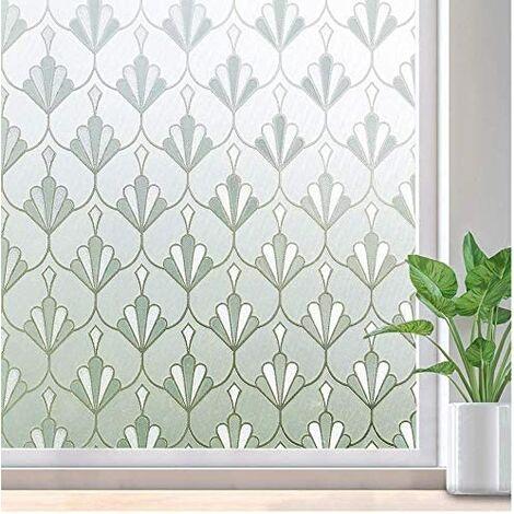 Ilovemono Verre film fenêtre film décoration murale bureau film fenêtre électricité statique coquille fleur 50x500 cm