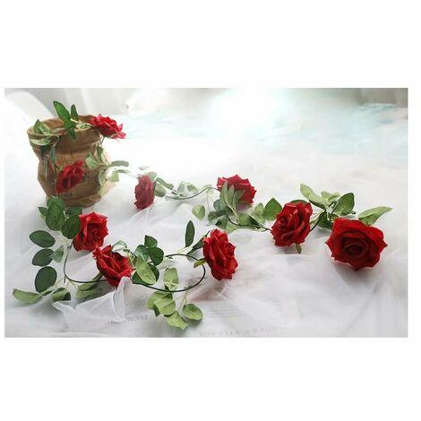 Ilovemono Vigne rose artificielle, décoration entrelacée de fausse vigne (rouge)