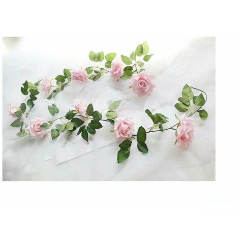 Ilovemono Vigne rose artificielle, décoration sinueuse fausse vigne (rose clair)