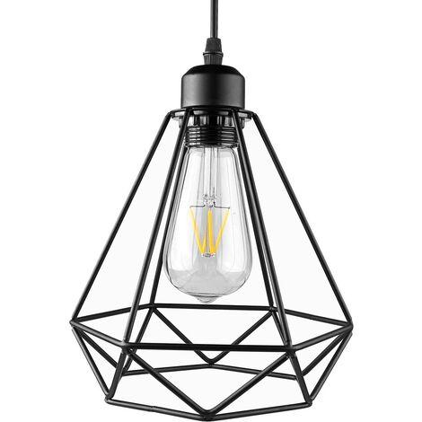 Iluminación colgante pintada industrial del hierro, Colgante ligero pendiente de la jaula del diamante, Lámpara colgante de Droplight, Enchufe E27, ninguÌ n bulbo