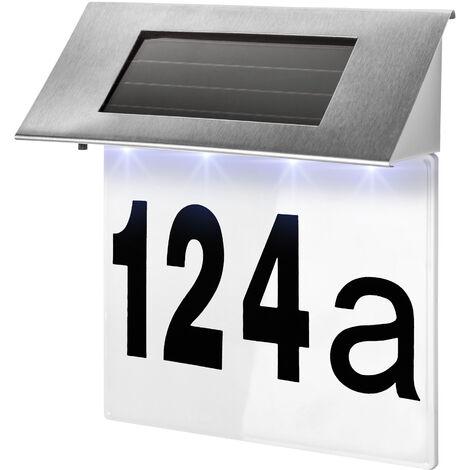 Iluminación de número de casa solar - lámpara led exterior para número de calle, iluminación solar para cifra de fachada de portal, luces LED con adhesivos de números - plata
