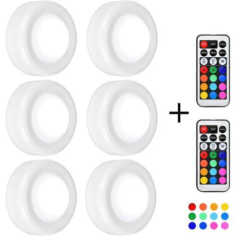 Iluminación debajo del gabinete, 6 luces LED para gabinete, luces de disco regulables, 13 colores, 4 modos dinámicos, luz nocturna, funciona con pilas, para escaleras, con control remoto, adhesivo 3M