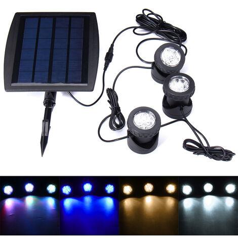 """main image of """"Iluminación LED con energía solar Lámpara de césped para jardín al aire libre Paisaje subacuático Foco para estanque de piscina (Blanco puro, Blanco)"""""""