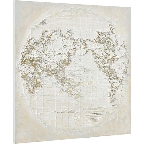 Imagen pared pintado a mano globo terráqueo sobre lienzo bastidor incluido (100x100x3,8cm)