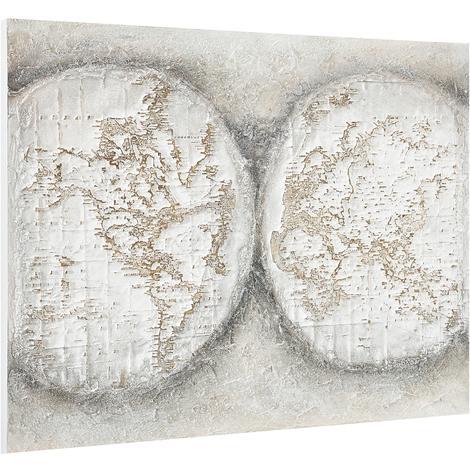 Imagen pared pintado a mano globo terráqueo sobre lienzo bastidor incluido (90x120x3,8cm)