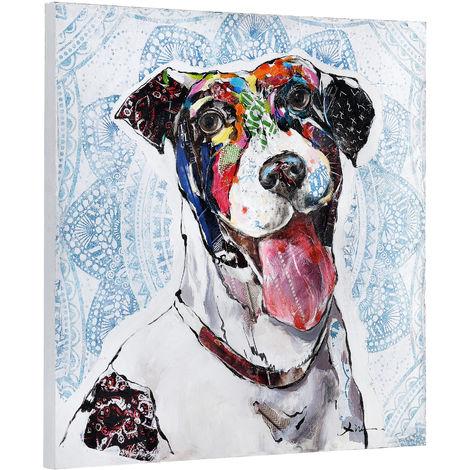 Imagen pared pintado a mano perro sobre lienzo bastidor incluido (80x80x3,8-cm)