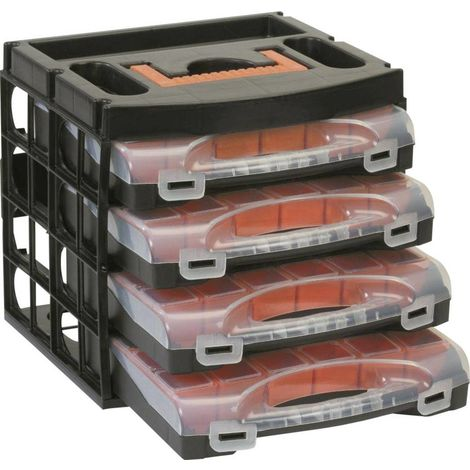 Tool storage bins and organisers