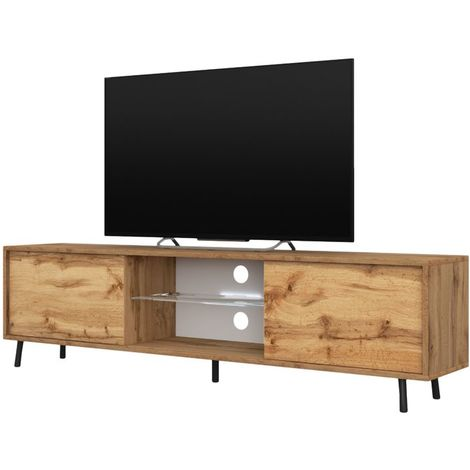 Selsey LEFYR - Meuble tv / Banc tv (chêne wotan, 140 cm, éclairage LED)