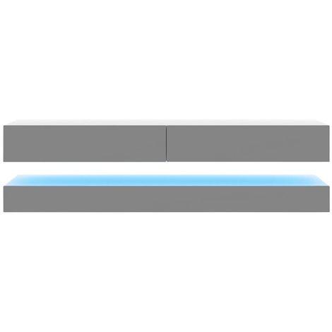 Selsey HYLIA - Meuble tv suspendu / Meuble de salon mural (blanc mat / gris brillant, 140 cm, avec LED)