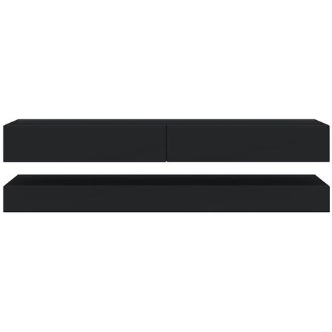 Selsey HYLIA - Meuble tv suspendu / Meuble de salon mural (noir mat / noir brillant, 140 cm)