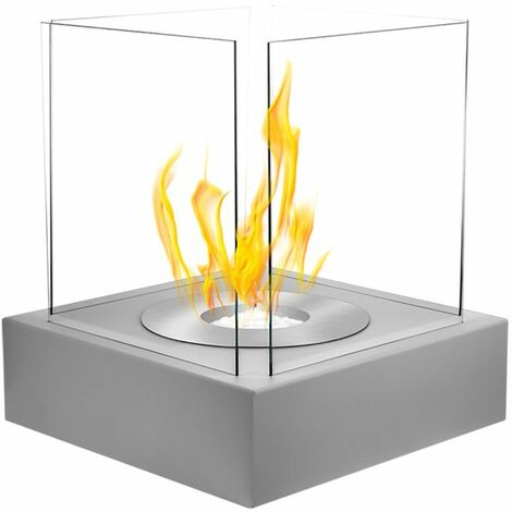 Selsey CUBE - Cheminée éthanol - gris structurel - biocarburant - tôle d'acier - style moderne