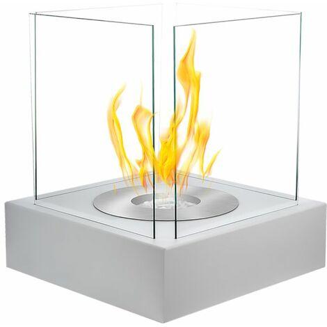 Selsey CUBE - Cheminée éthanol - blanc structurel - biocarburant - tôle d'acier - style moderne