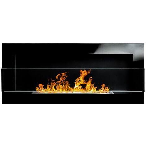Selsey ASTRALIS - Cheminée bioéthanol - 90x40 cm - noir brillant, TÜV - en acier - style moderne
