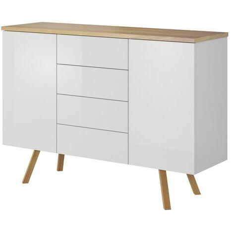 Selsey DINOSTO - Commode de chambre / Commode de salon (blanc / effet bois, 115 cm, 4 tiroirs, 2 compartiments fermés)