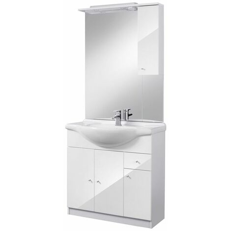 Selsey BELGOS - Ensemble de meubles salle de bain - 85 cm - blanc - lavabo - placard - miroir - style moderne