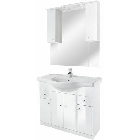 Selsey BELGOS - Ensemble de meubles salle de bain - 106 cm - blanc - lavabo - placard - miroir - style moderne