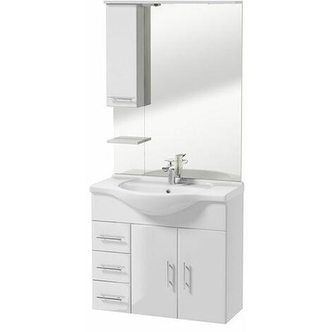 Selsey CRANSTON - Ensemble de meubles de salle de bain - Blanc - placard - lavabo - miroir - style moderne