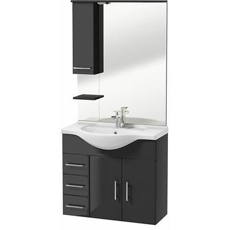 Selsey CRANSTON - Ensemble de meubles de salle de bain - graphite - placard - lavabo - miroir - Style moderne