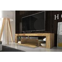 Selsey BIANKO - Meuble TV / Banc TV (140 cm, chêne lancaster, éclairage LED)