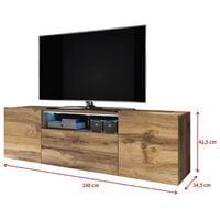 Selsey BROS - Meuble tv / Banc tv (chêne wotan, 137 cm, avec LED)