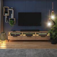 Selsey RIKKE - Meuble TV / Banc TV (chêne wotan, 160 cm, avec LED)