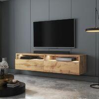 Selsey REDNAW - Meuble TV - 140 cm - chêne wotan - avec LED - scandinave - moderne