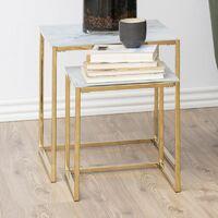 Selsey BAKAR - Tables gigognes - marbre / doré - 45x45 cm et 35x35 cm