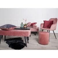 Selsey BELICER - Banc - velours rose - 100 cm - pieds noirs en acier - style glamour