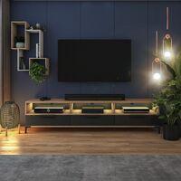 Selsey RIKKE - Meuble TV / Banc TV (chêne wotan / noir brillant, 160 cm, avec LED)