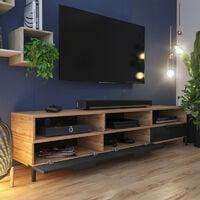 Selsey RIKKE - Meuble TV / Banc TV (chêne wotan / noir brillant, 160 cm)