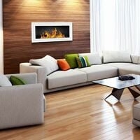 Selsey ASTRALIS - Cheminée bioéthanol - 90x40 cm - blanc brillant - TÜV - en acier - style moderne