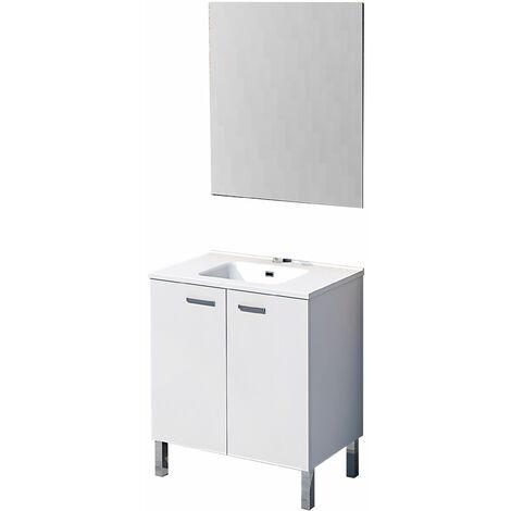 Conjunto Ona de mueble de bańo con espejo y lavamanos cerámico, de dos puertas, color blanco, 60 x 46 x 82.