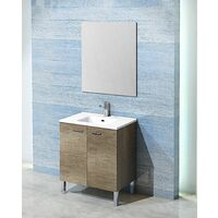 Conjunto Ona de mueble de bańo con espejo y lavamanos cerámico, de dos puertas, color roble gris, 60 x 46 x 82.