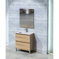 Conjunto Rita de mueble de bańo con espejo y lavamanos cerámico, de una puerta y un cajón, color roble natur, 60 x 46 x 82.