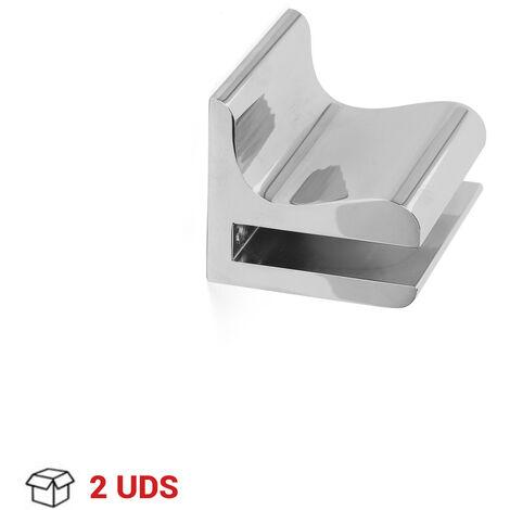 Set da 2 reggimensole fisse per vetro, Alluminio, Cromato Lucido. Marchio REI