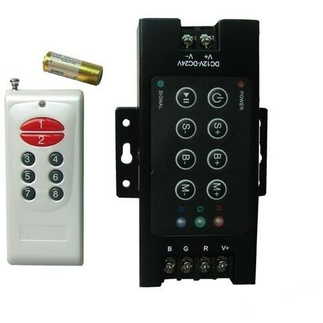 Controlador RGB 12/24V 30 A con control remoto de 12 botones