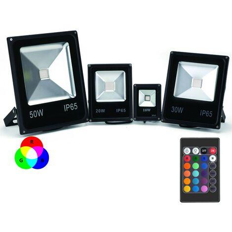 Proyector LED de color RGB extra plano para interior/exterior con mando a distancia - 10W, 20W, 30W, 50W, 100W (¡Nuevo!) | Potencia Watt: 10 watts/ 970lm/ ~88w