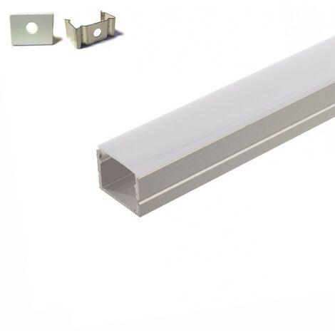 Perfil de aluminio 5 metros empotrado ( 5 x 1 metro ) con difusor opaco para cintas de 220V